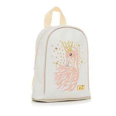 Bolsa Mochila Infantil Flamingo Branca Pequena