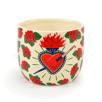 Cachepô de Cerâmica Frida Kahlo Flores e Coração