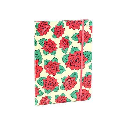 Caderno Médio com Elástico Frida Kahlo Flores