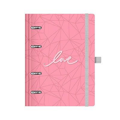 Planner Fichário Pink Stone Love Médio