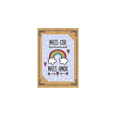 PostCard com Imã Arco-íris Mais Amor Lilás