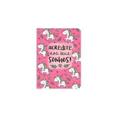 Caderneta Unicórnio Sonhos Rosa Pequena