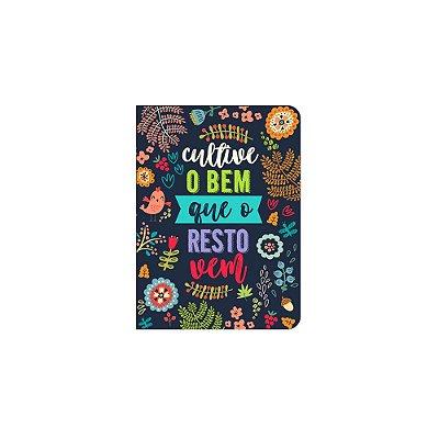 Caderneta Floral Cultive o Bem Azul Marinho Pequena