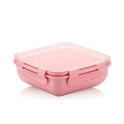 Marmita Hermética de Plástico com Divisória Rosa Quadrada