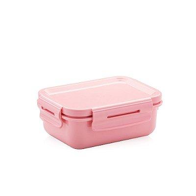 Mini Marmita Hermética de Plástico Rosa Retangular