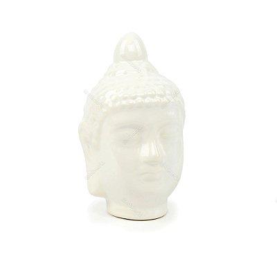 Cabeça de Buda em Cerâmica Branca