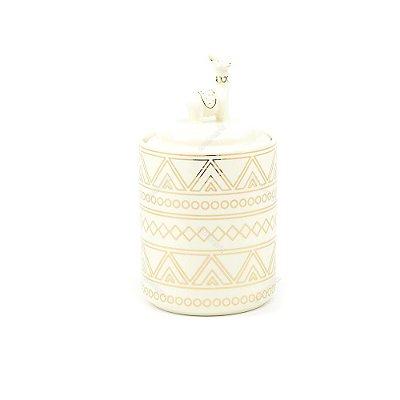 Pote Decorativo em Cerâmica Lhama Dourado