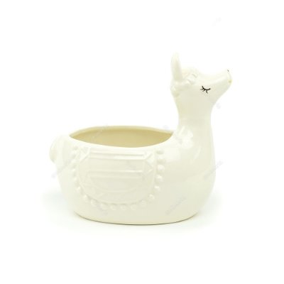 Cachepô de Cerâmica Lhama Branco