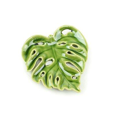 Prato Decorativo de Cerâmica Folha com Furos Verde