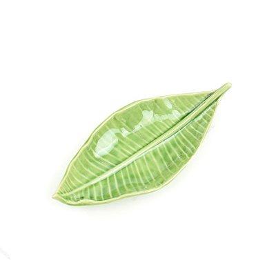Prato Decorativo de Cerâmica Folha de Cerejeira Verde