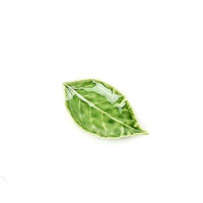 Mini Prato Decorativo de Cerâmica Folha Verde