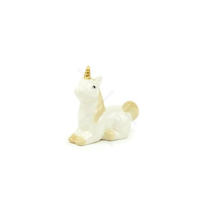 Unicórnio Decorativo de Cerâmica Deitado Branco