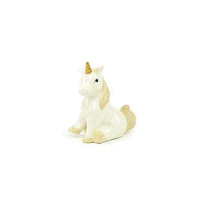 Unicórnio Decorativo de Cerâmica Sentado Branco