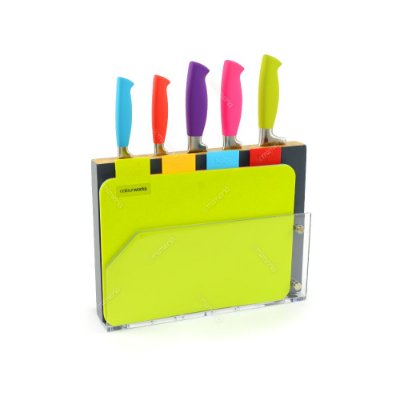 Conjunto de Facas Coloridas com Tábuas de Corte e Cepo 10 peças Kitchen Craft