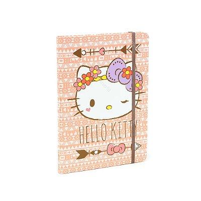Caderno Médio com Elástico Hello Kitty Rosa