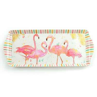 Bandeja Retangular Flamingos Rosas Média