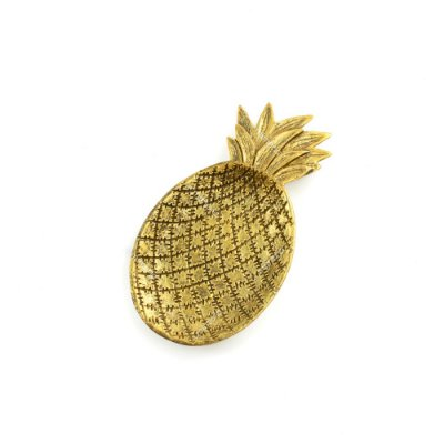 Petisqueira de Resina Abacaxi Dourada Pequena