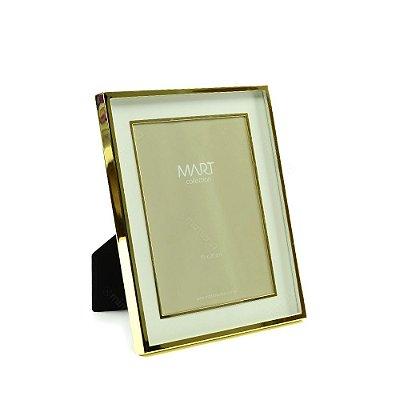 Porta Retrato Metalizado Duplo Liso Dourado 15x20