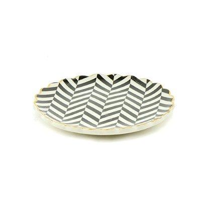 Mini Prato de Cerâmica Zigue Zague Preto e Branco
