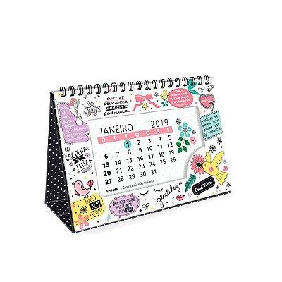 Calendário de Mesa Decorado Beija-Flor Branco 2019