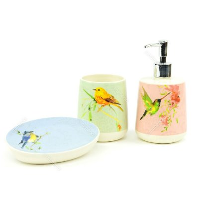 Kit de Banheiro em Cerâmica Pássaros