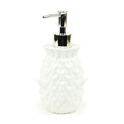 Porta Sabonete Líquido em Cerâmica Branco
