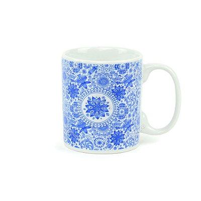 Caneca de Porcelana Mandala Índigo Blue