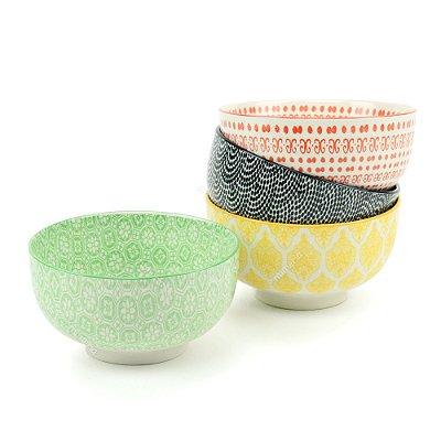 Conjunto Bowls de Porcelana Decorativo Colorido Médio