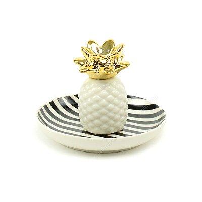 Porta-Joia em Cerâmica Abacaxi Branco e Dourado
