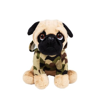 Cachorro Pug de Pelúcia Militar