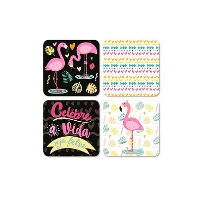 Porta Copos Magnéticos Flamingos Celebre a Vida