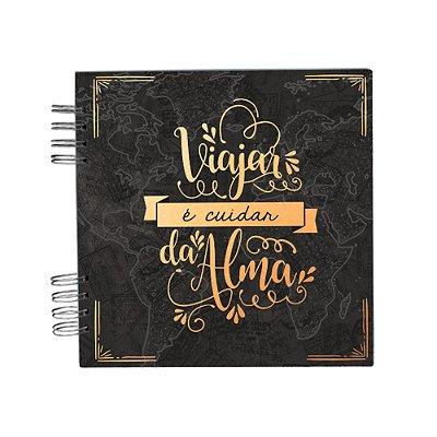 Álbum de Recordações Viajar Preto e Dourado Pequeno