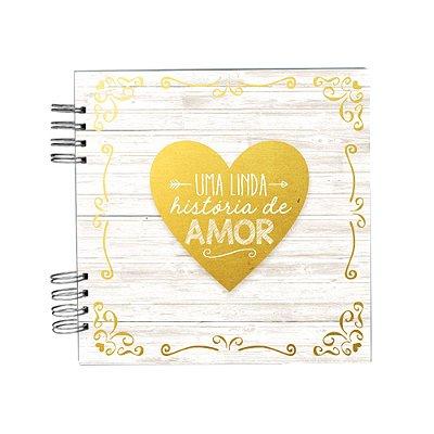 Álbum de Recordações História de Amor Branco e Dourado Pequeno