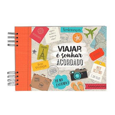 Álbum de Recordações Viajar é Sonhar Bege e Vermelho Grande