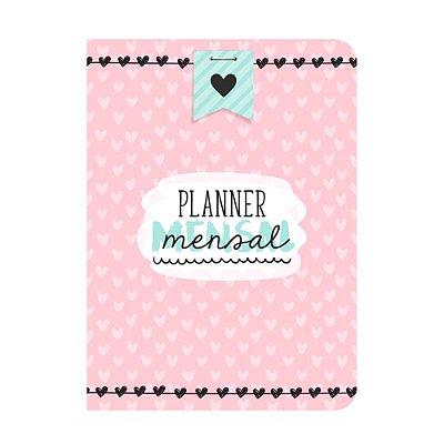 Planner Mensal Corações Rosa