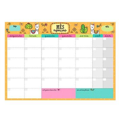 Bloco Planner de Mesa Mensal Lhama Amarelo