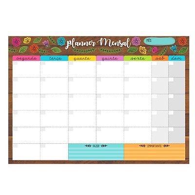 Bloco Planner de Mesa Mensal Floral Marrom
