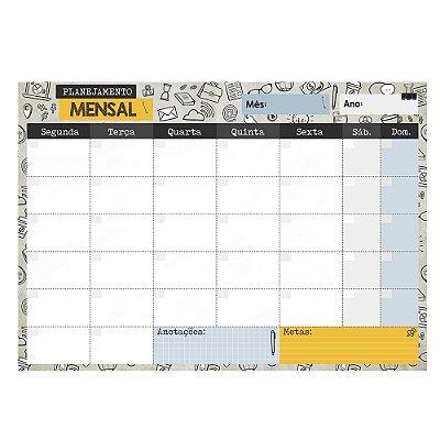 Bloco Planner de Mesa Mensal Escritório e Cia Areia