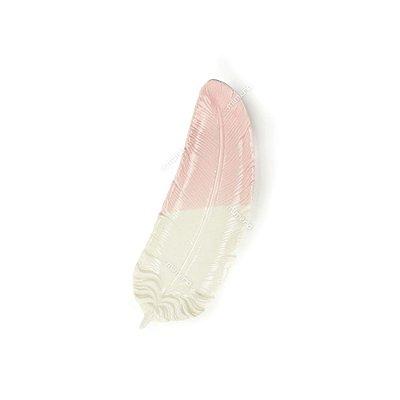 Prato Decorativo em Cerâmica Pena Curvada Rosa e Branco Pequeno
