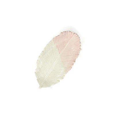 Prato Decorativo em Cerâmica Pena Redonda Rosa e Branco Pequeno