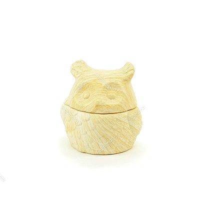 Cachepô em Cerâmica Coruja Bege