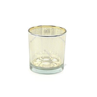 Castiçal de Vidro Estampado Listras Dourado