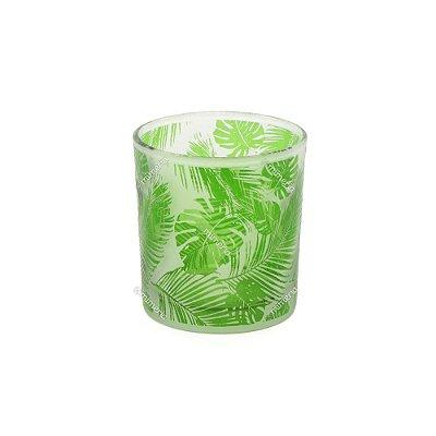 Castiçal de Vidro Estampado Folhas Verde e Branco