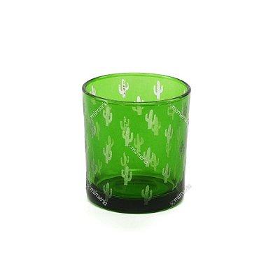 Castiçal de Vidro Estampado Cactos Verde
