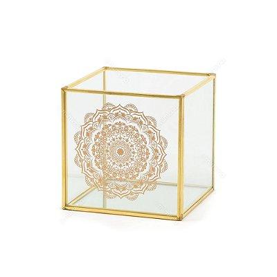 Caixa Decorativa de Vidro Mandala Dourada