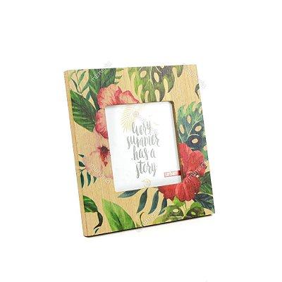 Porta Retrato de Madeira Folhas e Flores