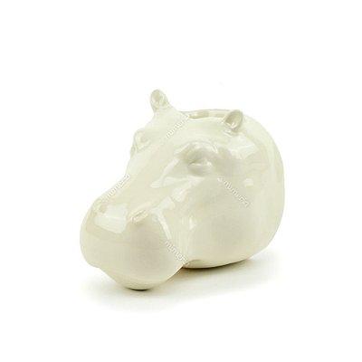 Cachepô de Parede em Cerâmica Hipopótamo Branco