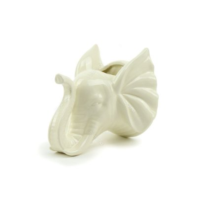 Cachepô de Parede em Cerâmica Elefante Branco
