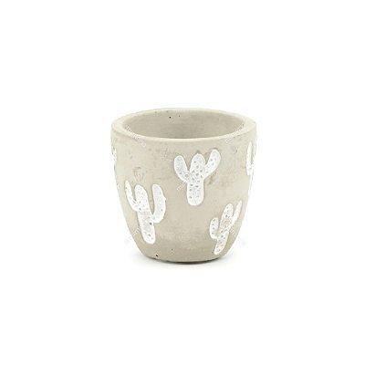 Vaso de Cerâmica Rústico Cactos Cinza Pequeno