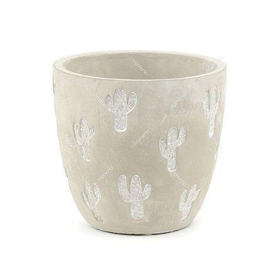 Vaso de Cerâmica Rústico Cactos Cinza Grande